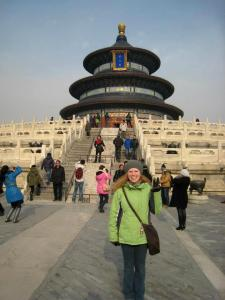 Annamarie Carlson '12 in front of the Temple of Heaven in Beijing.